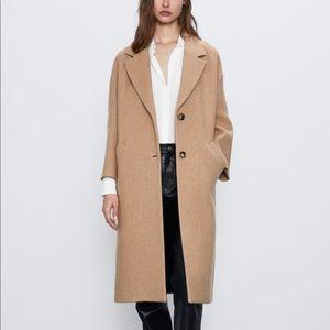 Zara camel button long lapel coat NWT xl